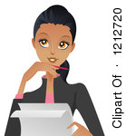 1212720-Clipart-Of-A-Casual-Black-Woman-Writing-And-Thinking-Royalty-Free-Vector-Illustration-1