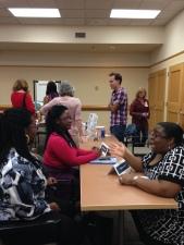 Libertad & Guinevere of Twinja Book Reviews with Tanita Davis (Happy Families, Knopf, 2012)