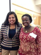 Nathalie Mvondo of Multiculturalism Rocks and Mitali Perkins (Tiger Boy, Charlesbridge 2014)